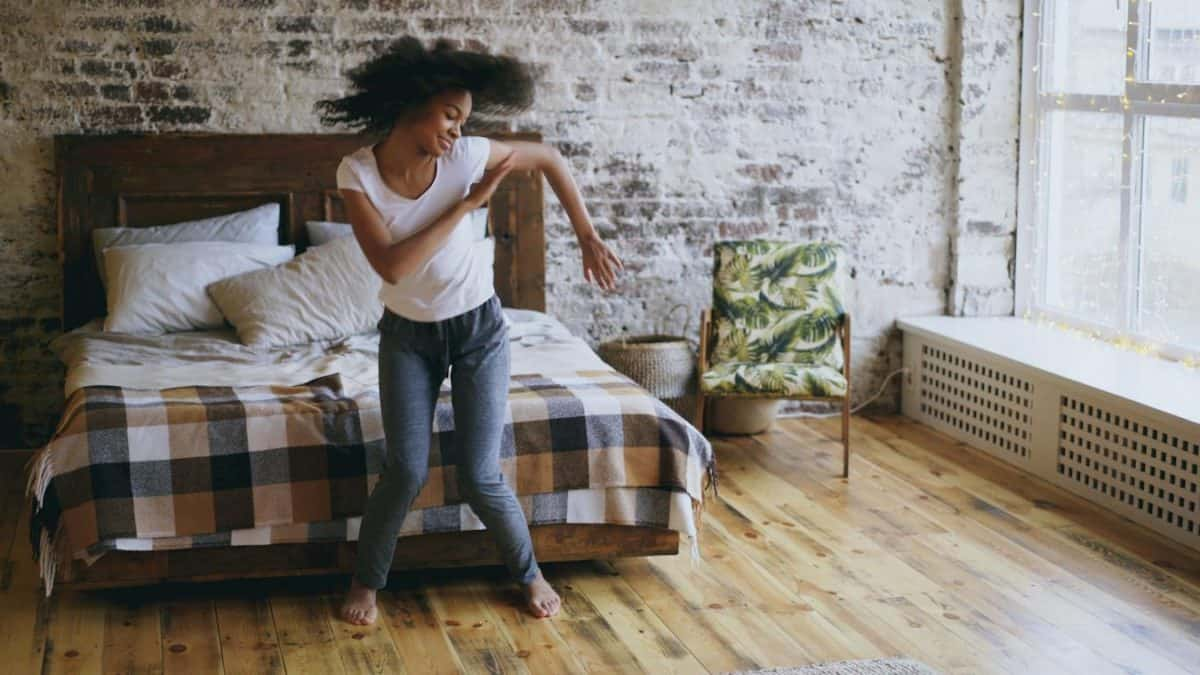 photo of girl in one bedroom apartment